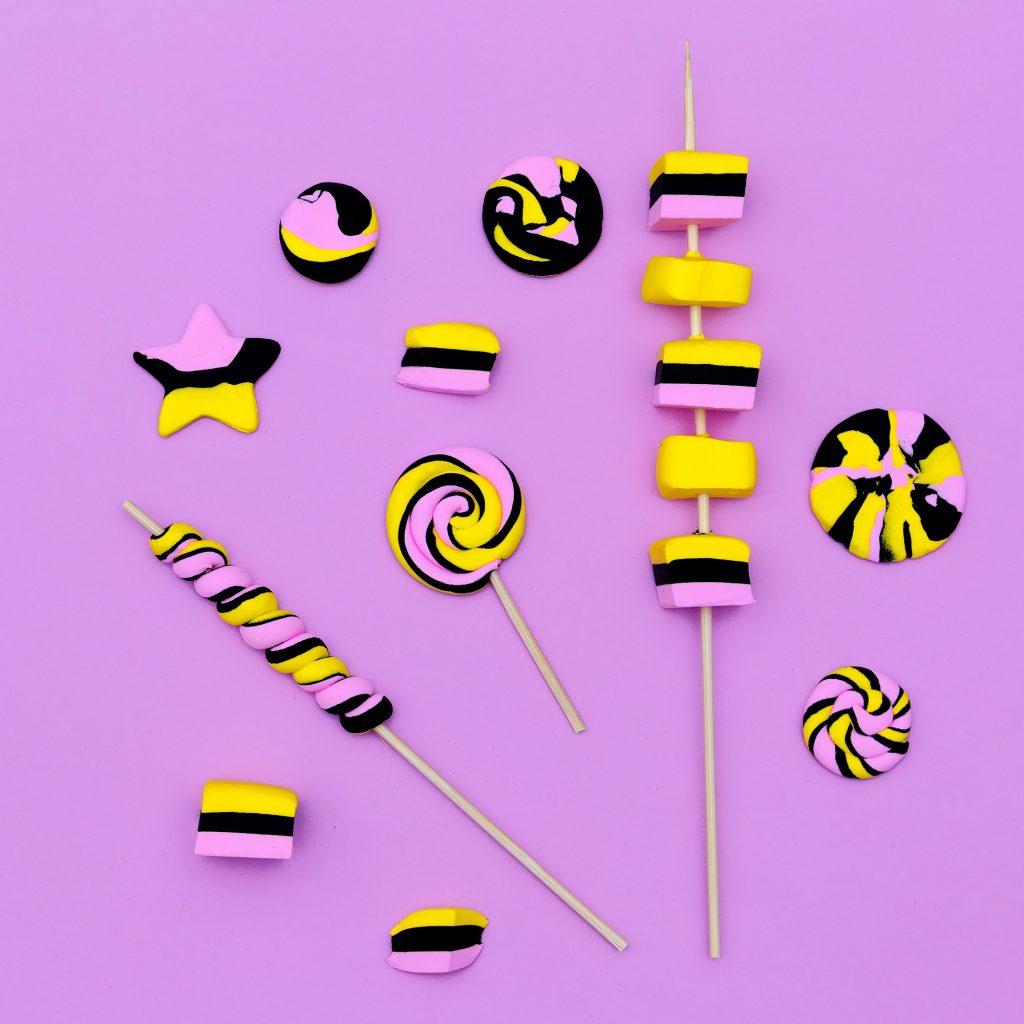 Marshmallow fashion set. Candy Mood Flatlay design